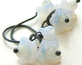 MILK ON CHARCOAL - White Opalescent Glass Flowers on Oxidized Silver Dangle Earrings