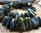 TOURMALINE Petro Green and Gold Signature Side Drilled FANCY Faceted Nuggets 9x78-19x12mm 260 Carats 8 Inch Strand REDUCED FROM 65.00