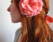 Felt Rose Necklace/Lariat/Headpiece Hand Felted-From Wool- in Peach Shade