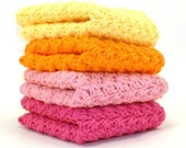 Crochet Dishcloths in Bright Pink, Pink, Orange and Yellow