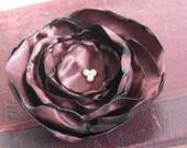 Fabric Flower Brooch in Chocolate Mocha