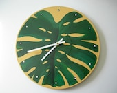 HAND PAINTED PHILODENDRON LEAF TROPICAL RECYCLED WALL CLOCK - ECO FRIENDLY - BY BEARLY ART. (SECT. M)