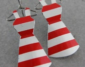 Recycled Vintage Tin Mini Dress Earrings- No. 95 Red/White stripes
