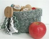 Green Tweed Felted Wool Basket/Bowl Eco Friendly