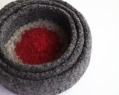 Red Dot Felted Bowl Trio