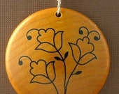 Forget Me Not...Maple Wood Pendant...I am a KIVA loaner