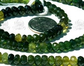 AA GREEN TOURMALINE faceted rondelle beads 4 mm 60 carat 14 inch strand