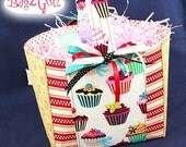 Yummy Cup Cakes -Patchwork-Easter -SPRING-Gift  Basket -yellow red-Little Girls Boutique tote bag