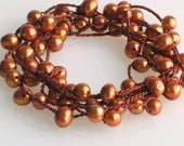 Crocheted Brown Silk with Coppery Pearls Bracelet or Long Necklace