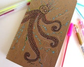 Hand Drawn OOAK Large Squared Moleskine Journal-Octopus