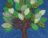 Tree with Leaves on Blue Background on White One Piece (6-9 mo.)