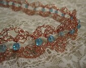 Copper and Turquoise Victorian Lacy Wire Crochet Choker