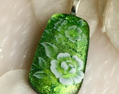 My Wild Irish Rose Dichoric Fused Glass Pendant