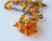 Amber Surprise, Amber Smooth Round Beads With Wire Wrapped And Oxidized Sterling Silver Wire Necklace