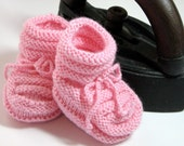 Vintage Inspired Handknit Baby Booties - Strawberry Pink