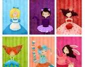 BLACK FRIDAY SALE Alice in Wonderland 11x14 Prints Set of 6