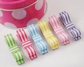 CANDY STRIPER CLASSIC CLIPS COLLECTION - Set of 6 No Slip Alligator Clips In A PUMPKIN PEA Gift Box