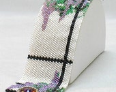 Hannah Rosner cuff bracelet bead pattern peyote stitch wisteria