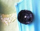 Fabric Flower Brooch Accessory Pin Basic Black with Rhinestone