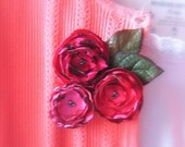 Fabric Flower Brooch Bouquet Roses Are Red  No. 2