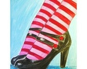 CANDY STRIPED original painting pink and red striped socks and cute shoes woman jennifer sandquist minneapolis artist
