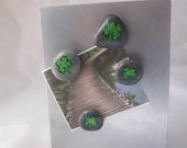 4 Leaf Lucky Clover Rock Magnets with Bag