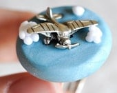 Airplane Ring in Perspective in Sky Blue Polymer Clay