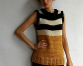 striped top - mustard antique white and black hand-knitted tank