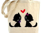 Recycled Tote Bag.... The Love cats..