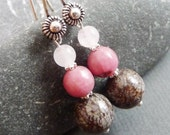 Pink Cascading Waterfall Sterling Silver Earrings