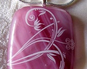 Handmade Pink Fused Glass Indian Flower Pendant, Sterling Silver Chain, Bail