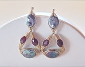 Modern Royal Chandelier Earrings-Gold, Rubies, Pearls