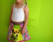 kinchi Crazy puppy skirt, size 2T,  3-5 or 5-7