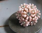 ON SALE - THE GARDEN FLOWER (pink variation) - vintage SPARKLE cocktail ring assemblage OOAK