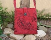 Red Paisley Messenger Bag