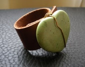 Apple Green Turquoise Heart and Leather 2 finger Ring