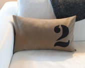 Number Pillow Cover in Dark Khaki