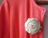 Fabric Rose Flower Brooch Ethereal with Petite Peach Fresh Water Pearls