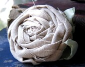 Fabric Rose Flower Brooch Cool and Fresh Linen