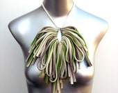neckpiece by necklush - natural w/ forest green and brown