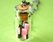 Neapolitan Candy Jar Necklace Silver 18 Inches
