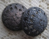 1 PAIR OLDER VINTAGE 1930s DETAILED DARK BRASS 21MM FILIGREE FINDINGS