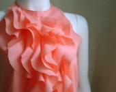 Romantic Ruffle Cascade Swirl Halter in Salmon Pink