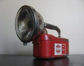 Industrial Chic.  Red Metal Lantern