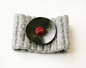 MEG cuff bracelet made from recycled sweater felted wool and vintage buttons