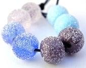 Sugared Pastels Handmade Lampwork Glass Beads (Set of 8)