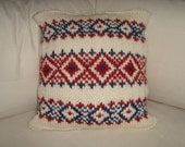 Hand Knitted Pillow Case in deep navy red and cream norwegian rug patterned