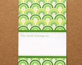 Green Retro Bookplates - Set of 10