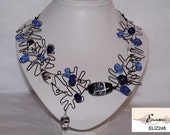 DANCING BLUE LAMPWORK BEAD AND WIRE NECKLACE