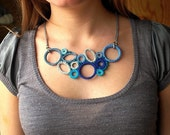 Best Seller - Turquoise, Teal, Blue, Grey Bib Crochet Necklace